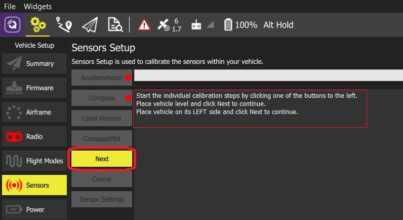 Sensors (ArduPilot) · ham Qgc_user